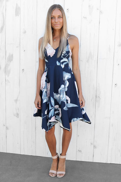 courtney floral dress in navy