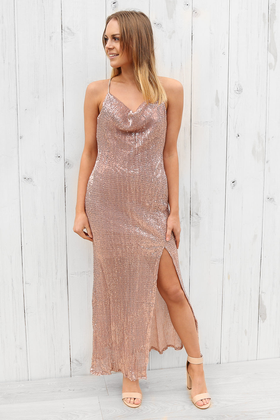 shimmer sequin gown in blush