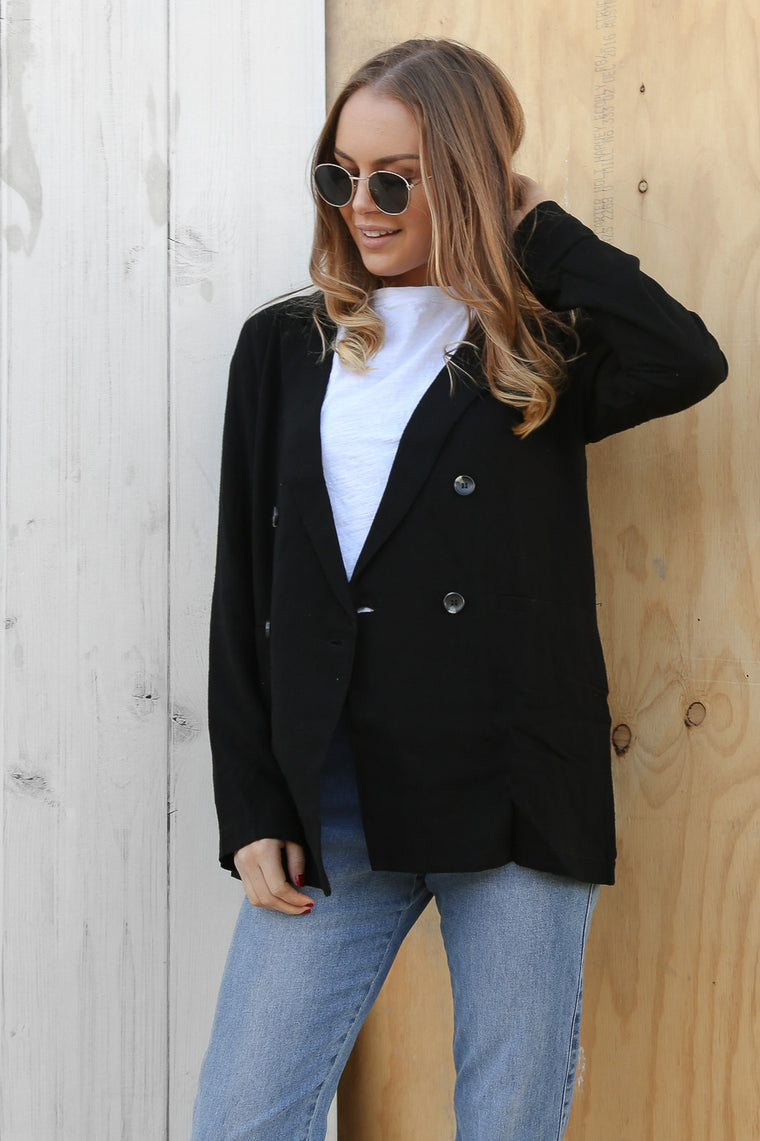 frankie linen blazer in black