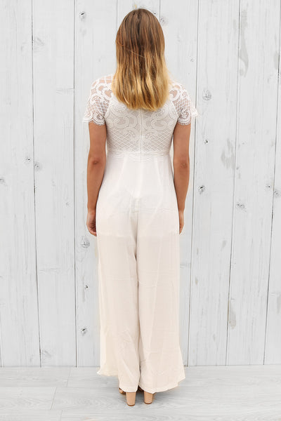 bright side lace jumpsuit in white