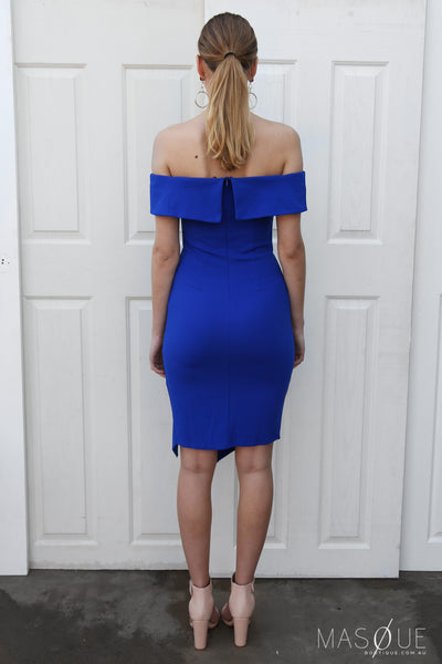 tribeca off the shoulder dress in cobalt