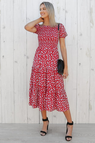 cairo dress in red floral