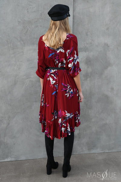 amara floral dress in burgundy