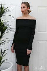 laurie off the shoulder knit dress in black