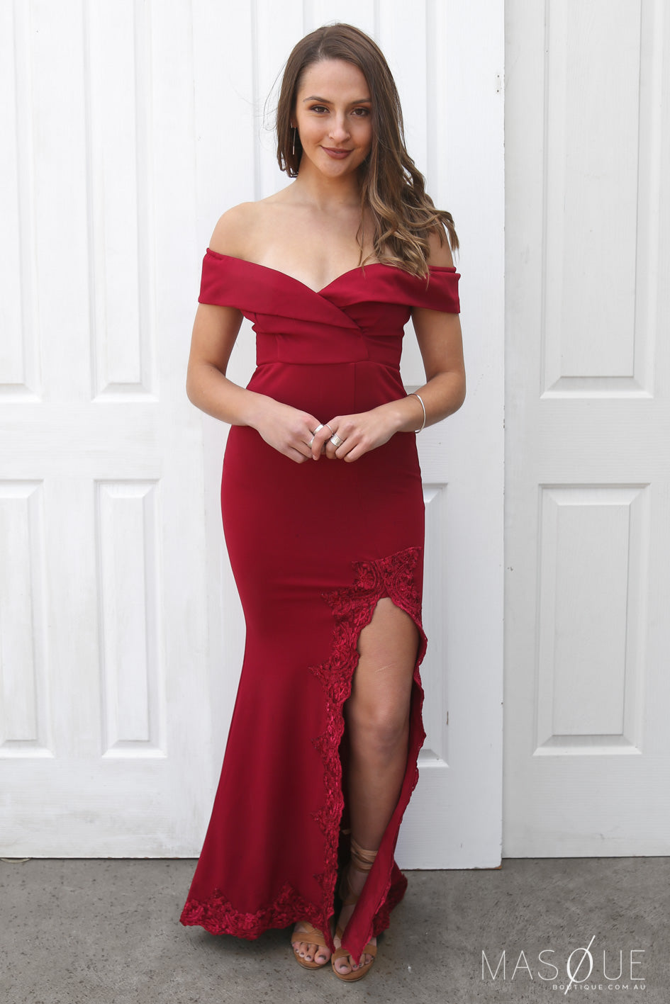 halo off the shoulder gown in wine