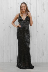 bueno sequin maxi in black