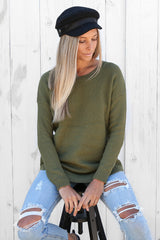 wishful knit in olive