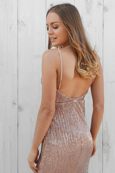 bueno sequin maxi in rose gold
