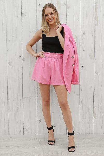 alice linen shorts in hot pink