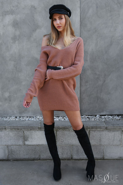 cosy knit dress in salmon