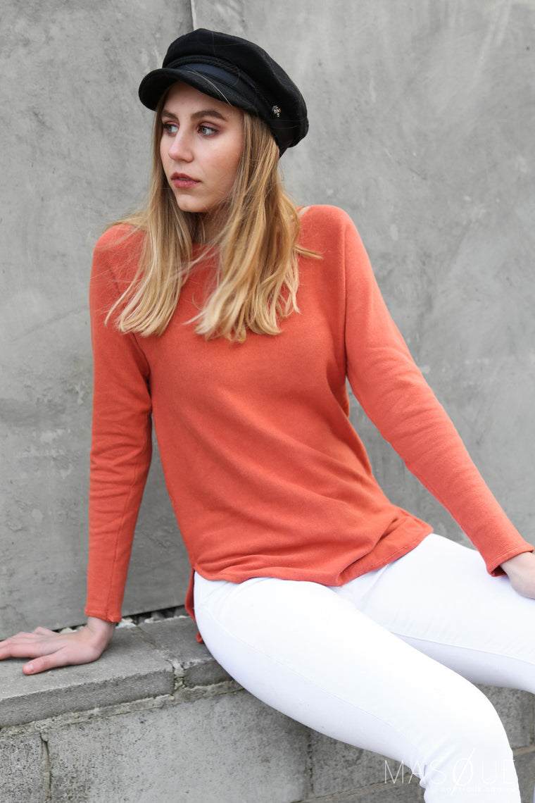 stewarts sweater in coral