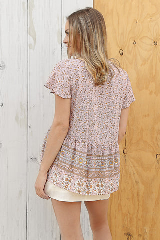 boho top in blush