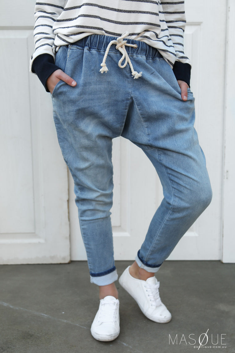 clear skies denim joggers