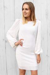 SALE - heaven sequin dress in white