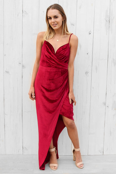 Laura velvet drape maxi in crimson by bariano
