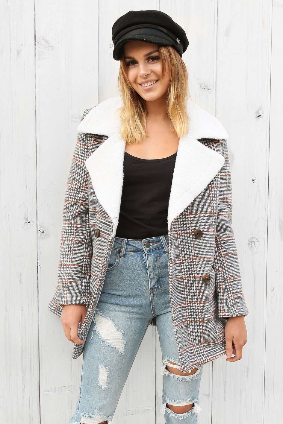 carlton coat in plaid