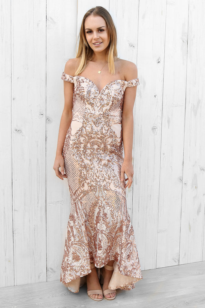 in love sequin gown by bariano – Masque Boutique