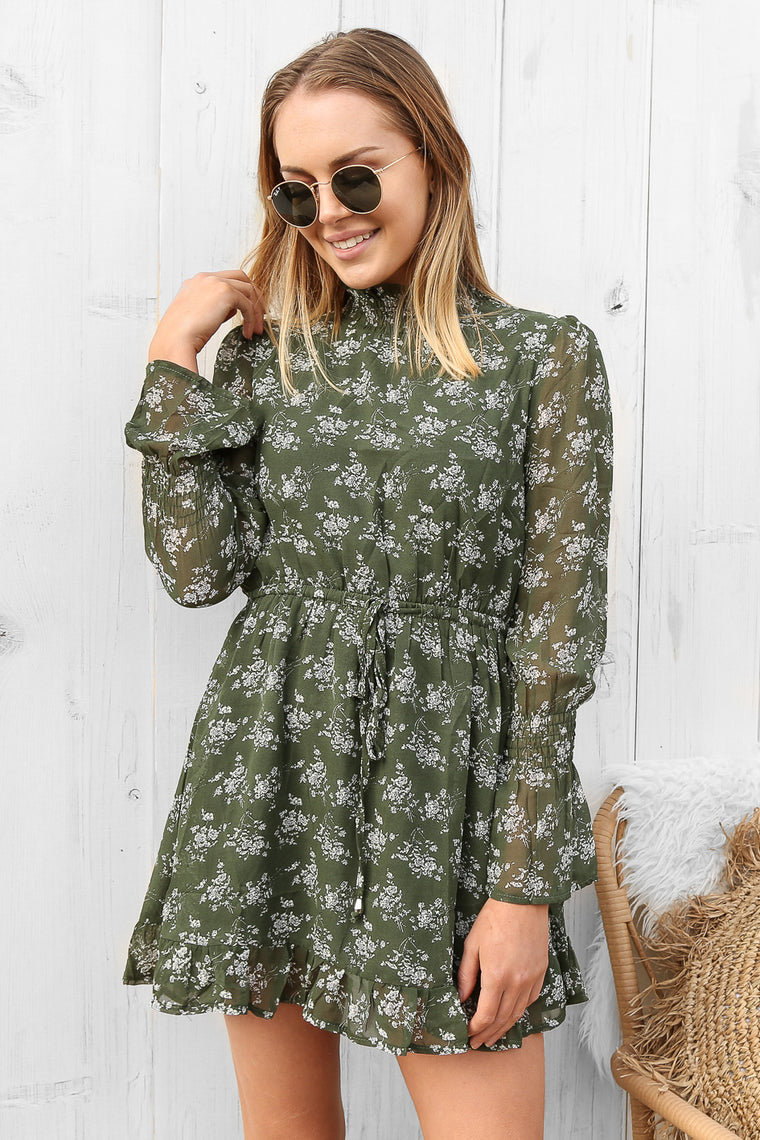 eliza dress in khaki