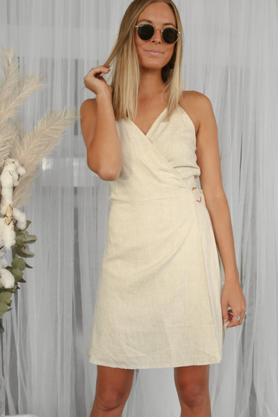 banks linen wrap mini dress in beige