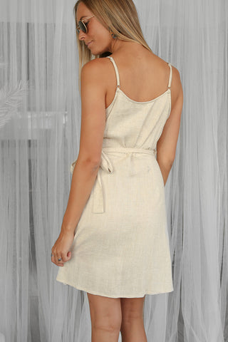 SALE - banks linen wrap mini dress in beige