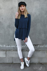 hanna overlay top in navy