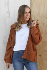 ted fleece jacket in mocha