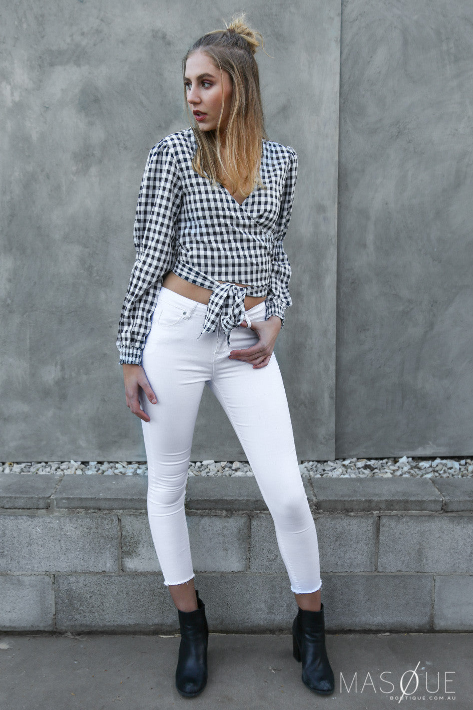 spice wrap top in gingham