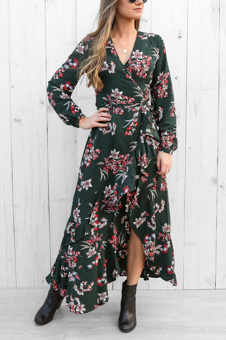 arielle wrap dress in teal floral