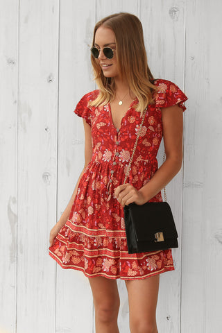eva dress in red floral