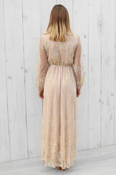 astrid dress in champagne