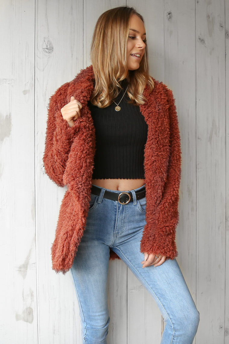 tuesday fluffy cardi in rust