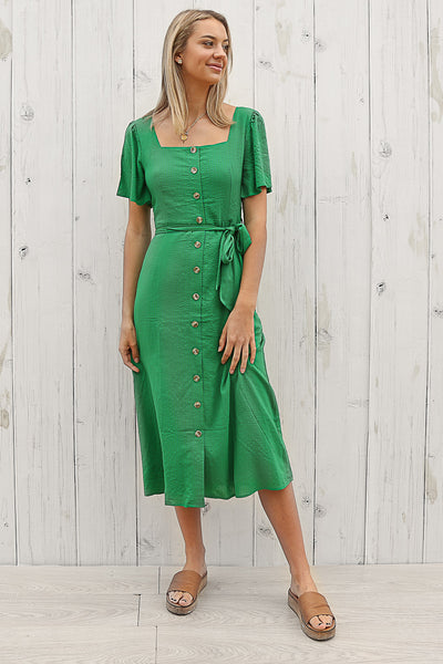 pinny button dress in green