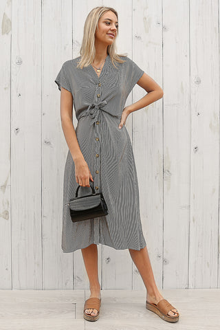 herritage linen midi dress in stripe