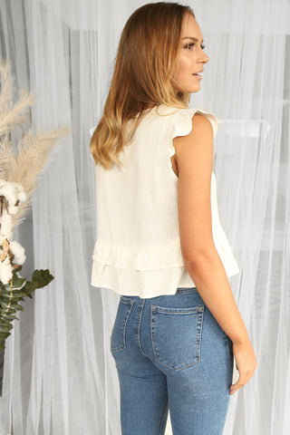 sweet peplum linen top in white