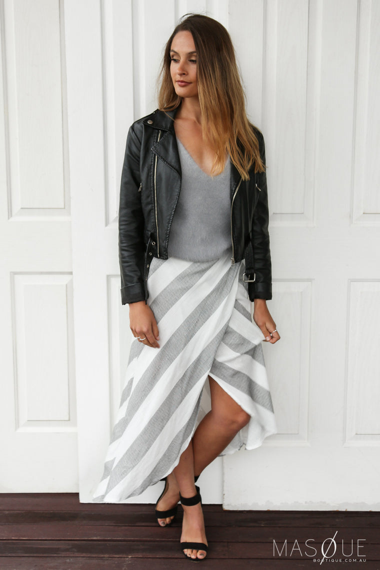 SALE - juliet stripe wrap skirt