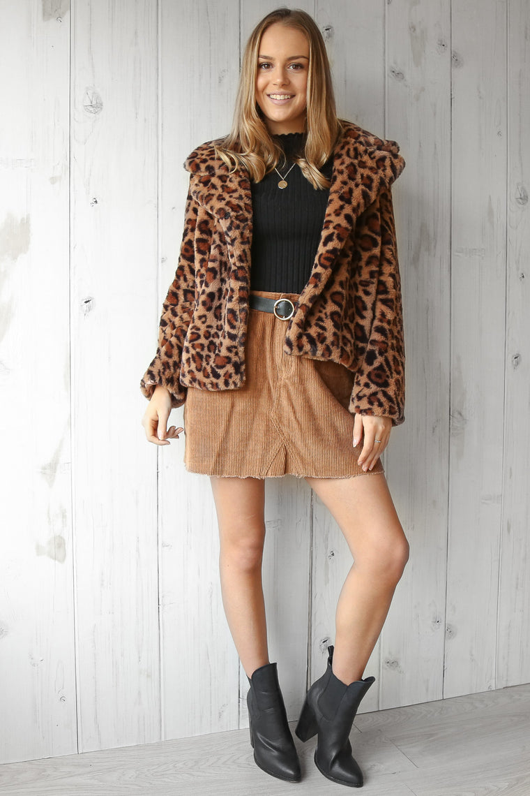 madrid fur jacket in leopard