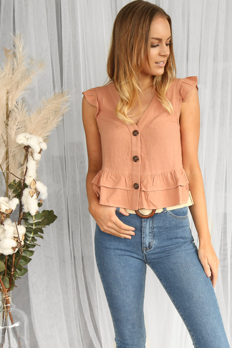 sweet peplum linen top in clay