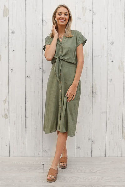 herritage linen midi dress in khaki