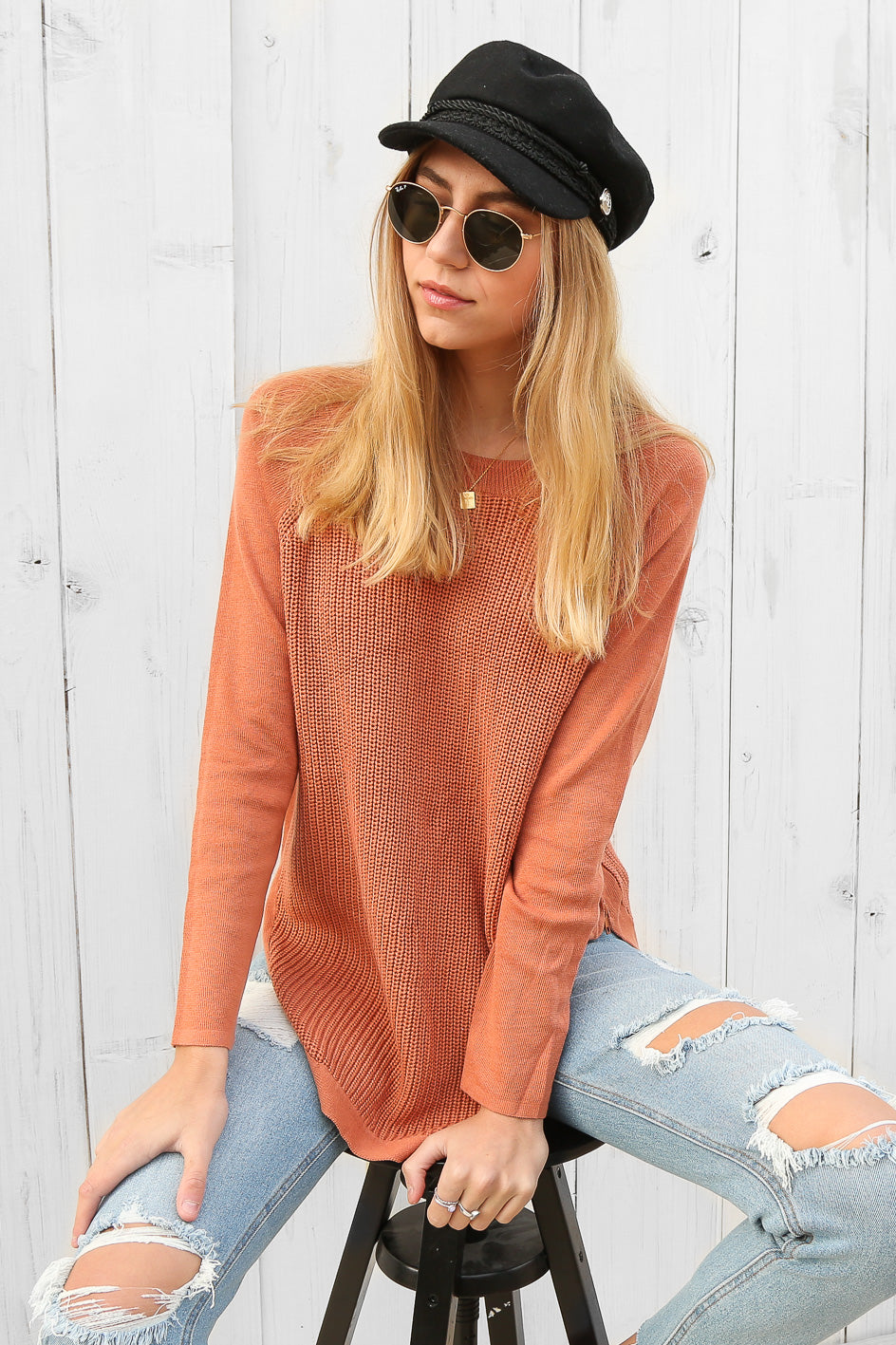 talulah knit jumper in rust