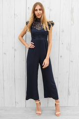 zodiac lace jumpsuit in navy