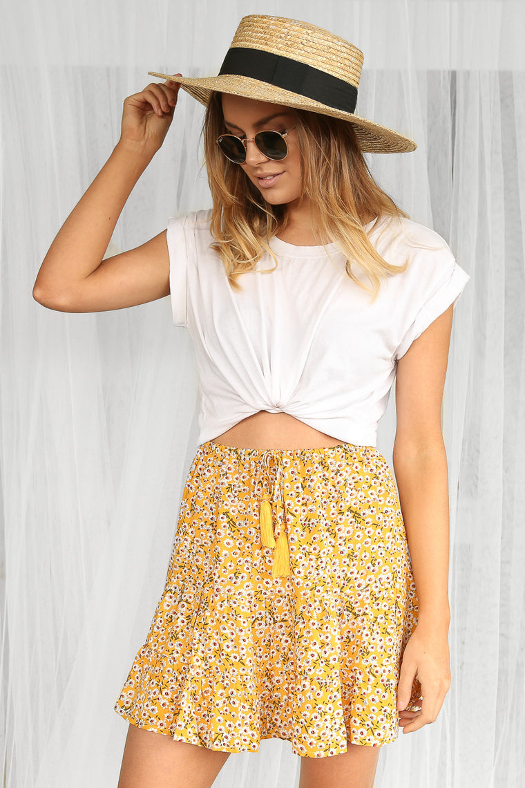 charged floral mini skirt