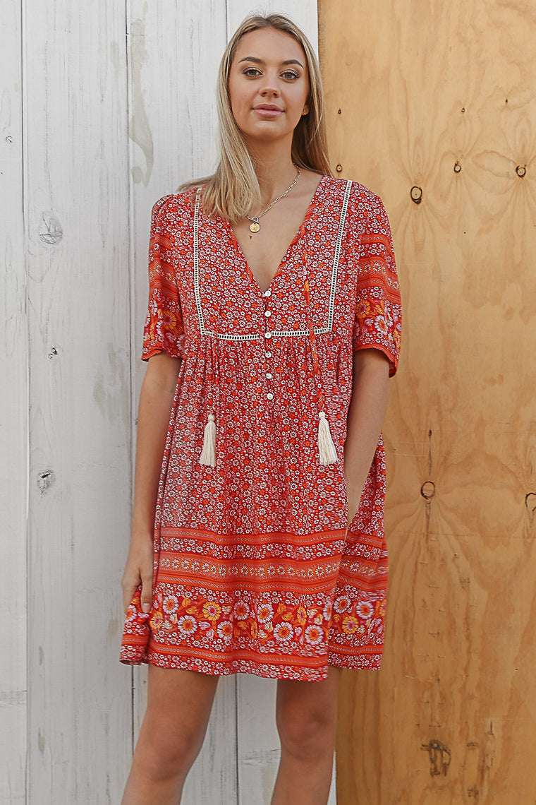 boho shift dress in red