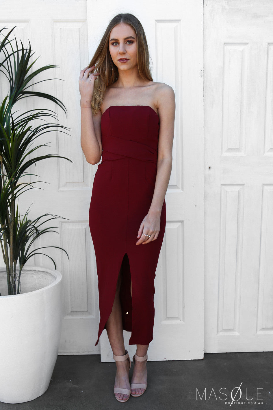 haliwell strapless dress in burgundy