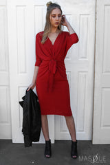 demure dress in red