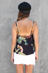 wattle cami in black floral