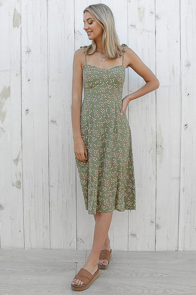 native floral midi dress in sage