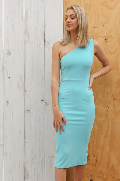 birdy one shoulder dress in blue