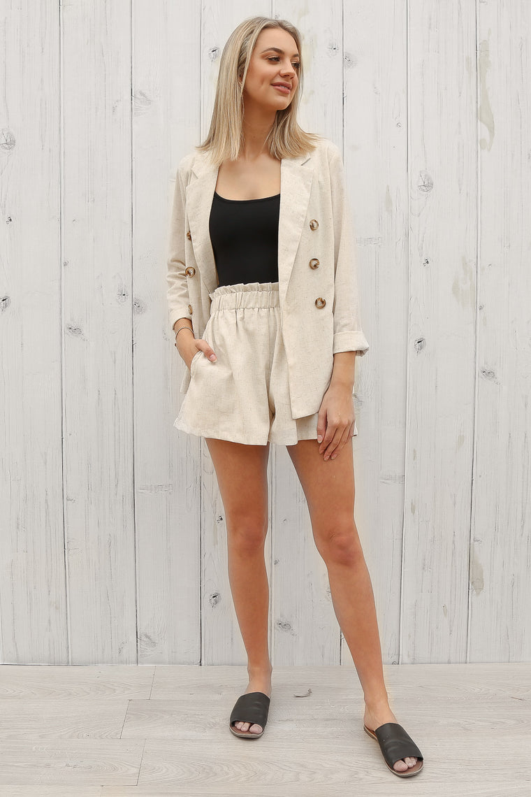 alice linen blazer in beige