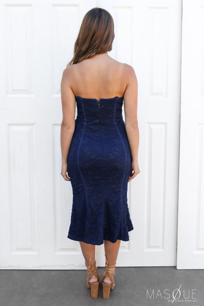 SALE - larissa lace midi in navy by lumier