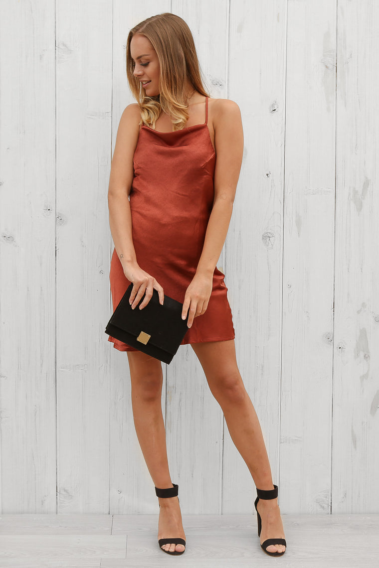 alyssa dress in rust